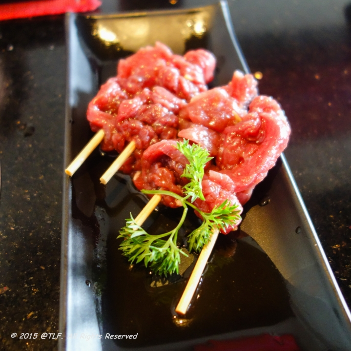 Marinated Ostrich Skewers with Soya Wasabi Sauce
