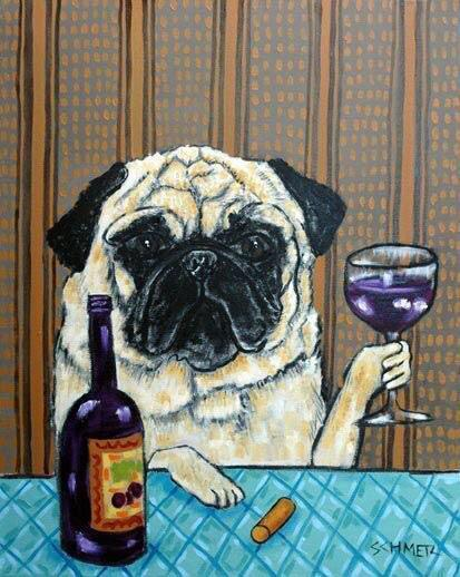 Pug and wine Print (Easy)