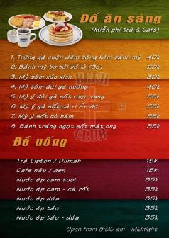 Breakfast menu, includes drinks