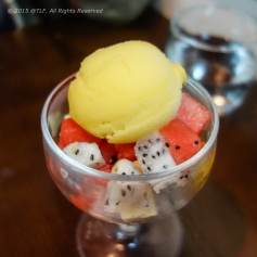 Mango Sorbet And Fresh Fruits