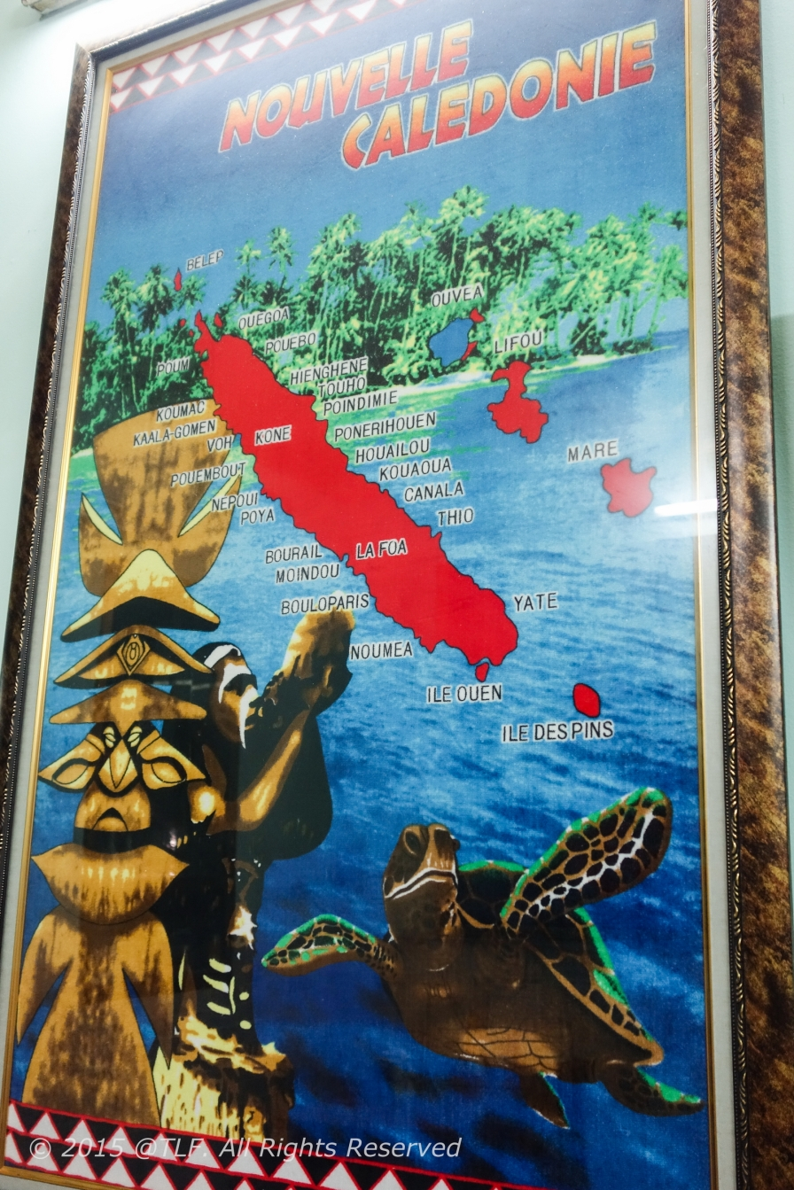 New Caledonia map, where the owner's family stayed before