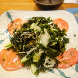 Wakame seaweed salad (after mixing)