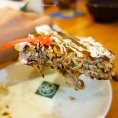 Slice of Ebitama okonomiyaki