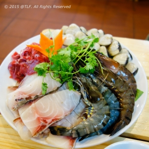 Raw seafood and beef for hot pot