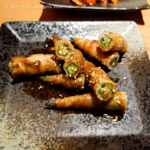 Beef with Okra Roll - Thit Bo cuon Dau bap nuong