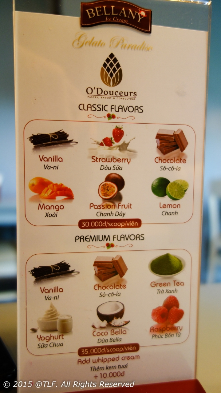 Gelato Ice Cream Menu