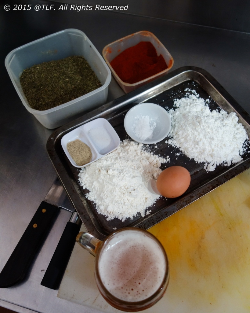 Batter: Paprika, Dried Thyme, Corn Starch, Beer, Flour,