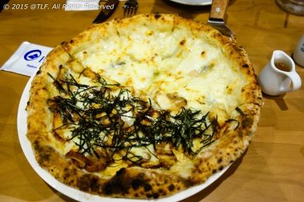 Half 4 Cheese, Half Chicken Teriyaki Pizza
