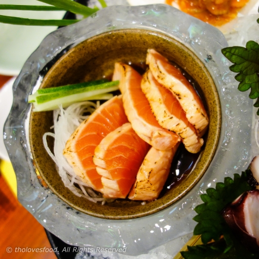 Salmon with Sweet Ponzu Sauce, in Iced Bowl