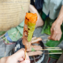 Grilled Nem Chua dipped Chili Sauce