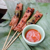 Result: Tasty Grilled Nem Chua and Spicy Chili Sauce!