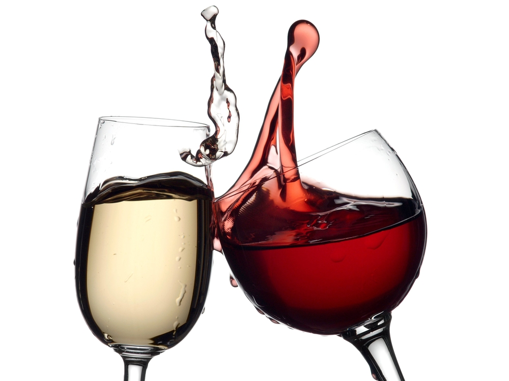 Red Wine And White Wine Around Food