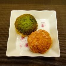 raspberry n green tea choux - su kem phúc bồn tử và trà xanh